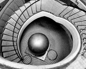 Abstract Architecture - Escher-ish (MC Escher surreal black and white photography print, abstract modern architecture photo, circular stair)