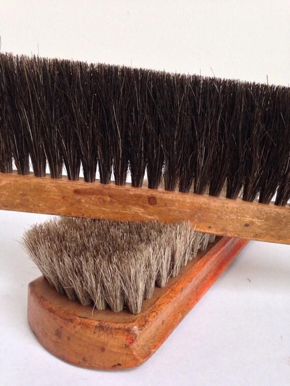 Two Vintage Brushes Horsehair Antique Brushes Shoeshine Brush And Drafting Brush Brush