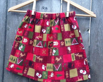 girls Christmas Skirt --- size 3/4 and ready to ship