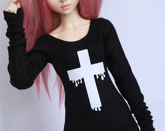MSD BJD clothes Black Pastel Goth drip cross body con dress MonstroDesigns