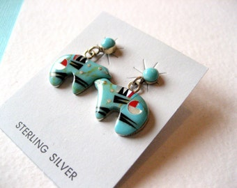 Zuni Starry Night Sterling Silver and Multi Stone Inlay Bear Earrings