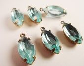 Vintage Aquamarine Unfoiled Navette 15x7 Rhinestones in Antique Brass Prong Settings 1 Ring Open Backs  - 6 Pieces