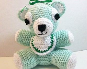 Baby Bear with Bib - Baby Teddy Bear in Pastel Green - Plush Bear - Baby's First Teddy Bear - Soft Toy Teddy Bear - Nursery Teddy Bear