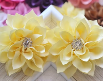 New! 2pcs Handmade Silk flowers--yellow (FB1039)