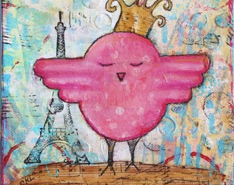 Queen Birdie Mixed Media Original Collage Art 6 x 6 Gallery Wrapped Canvas