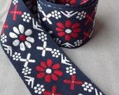 "Scandinavian embroidered red navy and white decorative cotton fashion trim / boho trim / decorative border  / 2 yards x 5.5cm, (2 1/8"")"