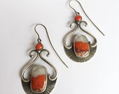 RESERVED Balance - Zen Scroll Fan Sterling Earrings Coral and Agate Red Orange Statement Earrings