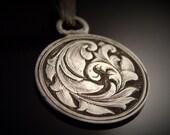 Hand Engraved Silver Dime Love Token Pendant