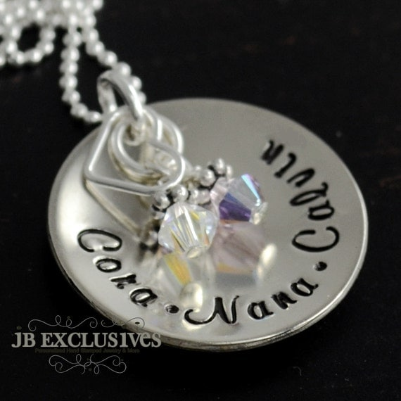 hand stamped personalized mommy necklace - sterling silver chain -  baby name disc and birthstone - gifts for moms, sisters, friends