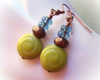 Shells, copper earrings, chartreuse green spiral seashell glass beads lime olive aqua blue dangle drop earrings coastal jewelry ocean sea