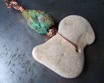 Beach Stone Necklace Copper and Turquoise Stone turquoise and sea stone natural beach stone flat pebble primitive amulet talisman men women