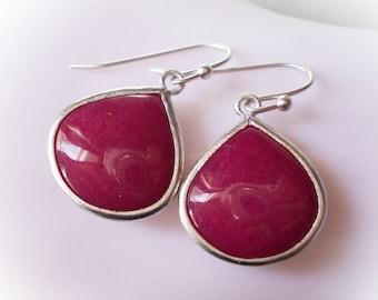 Ruby jade earrings silver framed dangle drop earrings for women girl pink wine red stone love gift birthday classic chic fancy ruby modern