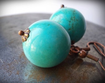 Large turquoise drop earrings - copper earrings - blue green turquoise - huge big dangle earrings - rustic jewelry - ethnic - boho chic