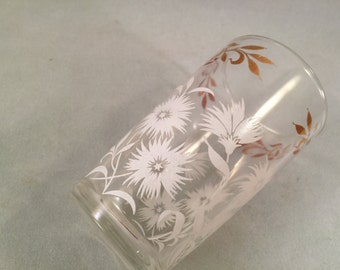 Vintage SWANKY SWIG 1950's Era Juice Glass with White Flowers and Gold Trim