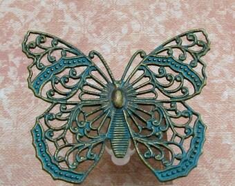 Filigree Butterfly Pendant, Vintage Patina Blue Green, Trinity Brass, VB9