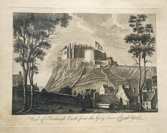 View of Edinburgh Castle, from the Grey Friars' Church Yard, 1700s original copper-plate engraving