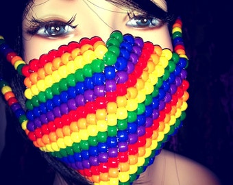 Rainbow Kandi Mask, Striped Surgical Mask, Plur EDM Rave Accessories