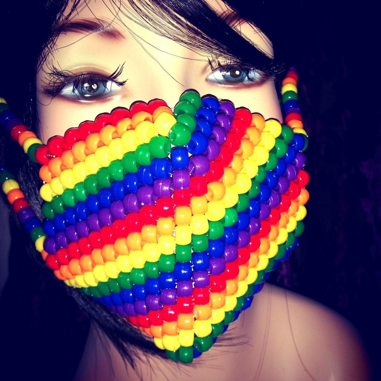 Rainbow Kandi Mask, Striped Surgical Mask, Plur Edm Rave Accessories