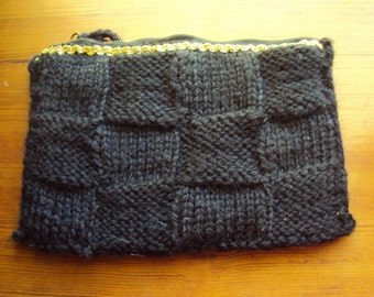 Vintage Hand Made Small Black KnitTote purse