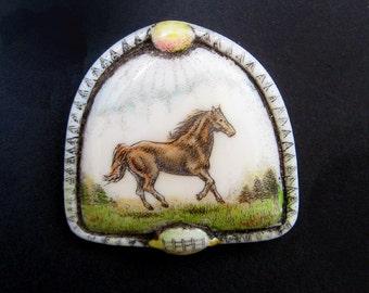 Horse mare stallion scrimshaw technique reproduction pin