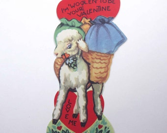 Vintage Children's Novelty Valentine Greeting Card with Adorable Little White Lamb and Baskets with Sacks