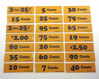 Set of 21 Vintage Orange and Black Store Price Tags Lot B