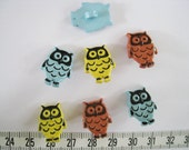 24 pcs of Cute  Owl Button - Yellow Blue Brown