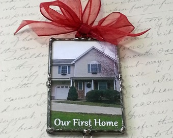 Photo Ornament, New Home, House Warming Gift, Soldered Glass Charm, Personalized, Custom Made, Christmas Ornament, Holiday, Wedding Keepsake