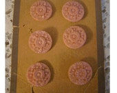 Lot of 6 Wonderful Early Plastic PINK FLOWER BUTTONS - On Original Card