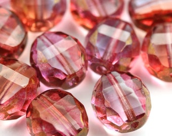 Czech Glass Beads Fire Polished 2 Way Faceted Rounds 12mm Luster Rose (6) CZF774