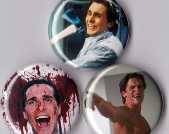 3 American Psycho Pinback Buttons