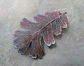 Real Leaf Brooch Pin Pendant -  Oxidized Sterling Silver - Oak