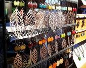 Copper Leaf Dangle Earrings, Enamel Earrings, Nut Brown Drop Earrings, Beige Chandelier Earrings Nickel free kidney ear w