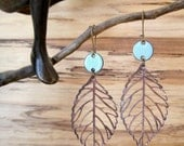 Robin's Egg Blue Drop Earrings, Copper Leaf Dangle Earrings, Enamel Earrings, Light Blue Chandelier Earrings Nickel free kidney