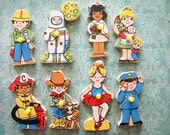 8 Vintage Wooden Puzzle Pieces from Tray Puzzle People Occupations