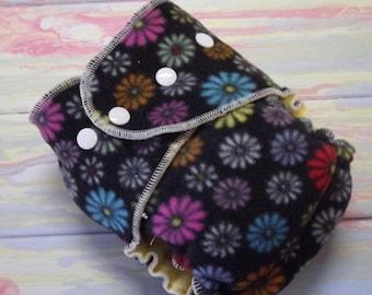 Petite Fleece AI2 Hybrid Fitted Hemp Cotton Cloth Diaper Black Floral 8-20 lbs