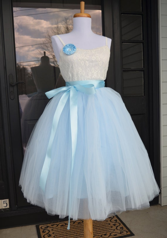 womens tutu soft baby blue tulle skirt light by
