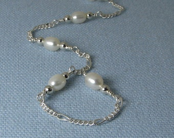 White Pearls and Sterling Silver Chain Adjustable Anklet