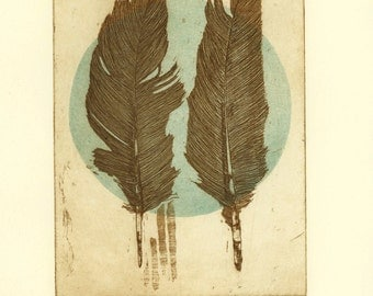 etching, Feathers, printmaking, sepia, dot, turquoise, circle, soft colors, natural color, home interior, contemporary art, bird, modern art