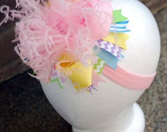 boutique PRETTY PASTEL over the top hair bow on a headband