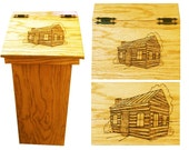 Kitchen trash can with wood burn artwork of cabin on lid great gift
