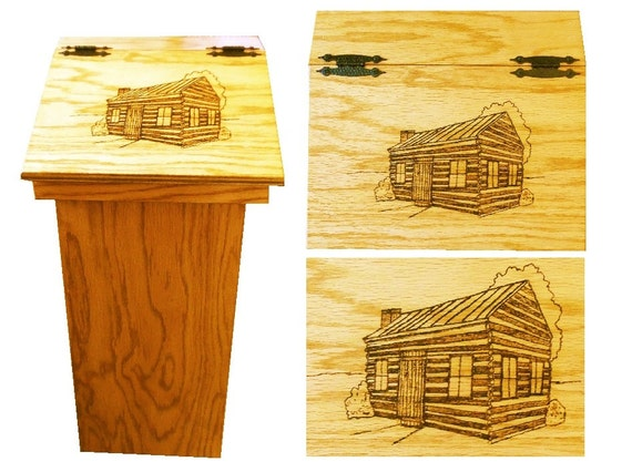 Kitchen trash can with wood burn artwork of cabin on lid great - Wooden kitchen trash can with lid ...