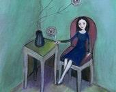 The Purple Chair, Fine Art Print, flowers, wall decor, aqua, blue green, folk art
