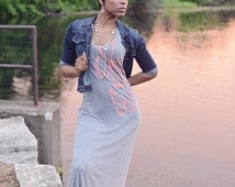 racerback maxi dress. light gray dress. tank maxi dress. tank dress. scoop neck dress. sleeveless maxi dress. screenprint dress