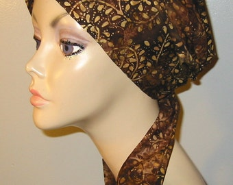Brown and Gold Batik Chemo Scarf Hat, Cancer Hat, Hijab, Alopecia