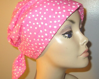 White Dots on Pink Cotton  Scrub Hat, Cancer, Chemo Hat, Turban, Hair Loss, Alopecia