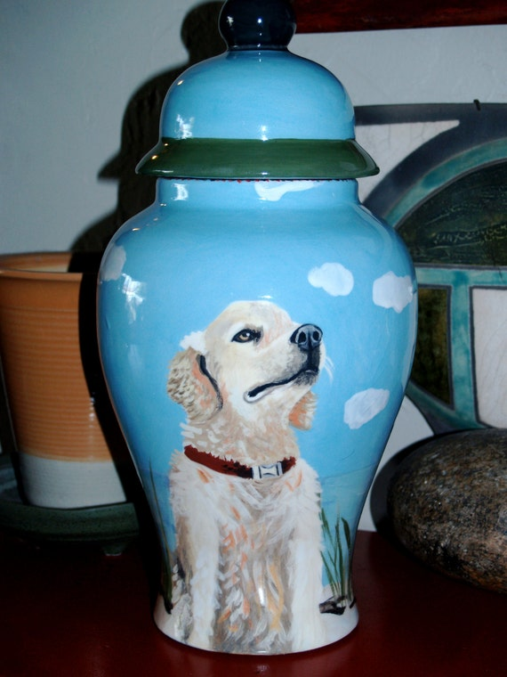 Ceramic burial PET URN Custom large dog urn any breed your pets portrait