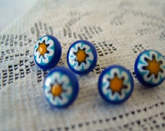 Vintage Buttons Millefiore Bright Sunny Yellow Flowers