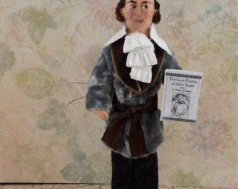 John Keats Doll Miniature Poet Art Collectible Classic Writer and Author