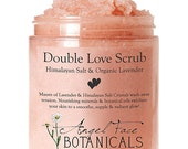 Double Love Body Scrub with Himalayan Salt & Organic Lavender Essential Oils Moisturizing and Exfoliating Sea Salt and Oil Scrub